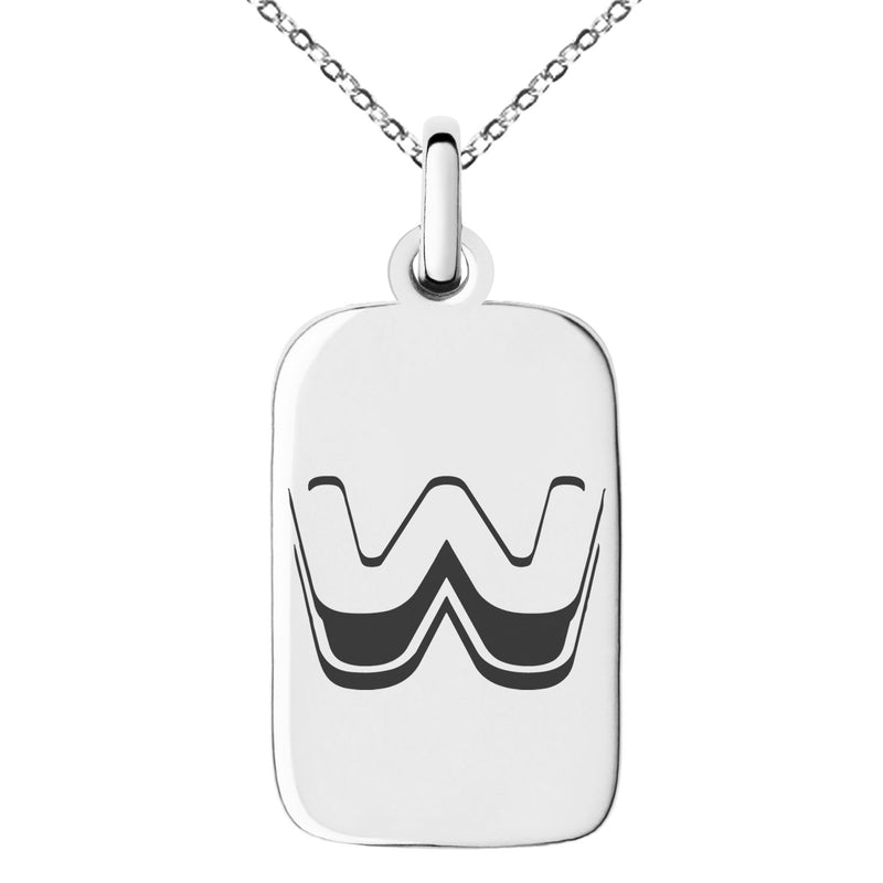 Stainless Steel Letter W Initial 3D Monogram Engraved Small Rectangle Dog Tag Charm Pendant Necklace