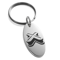 Stainless Steel Letter X Initial 3D Monogram Engraved Small Oval Charm Keychain Keyring - Tioneer