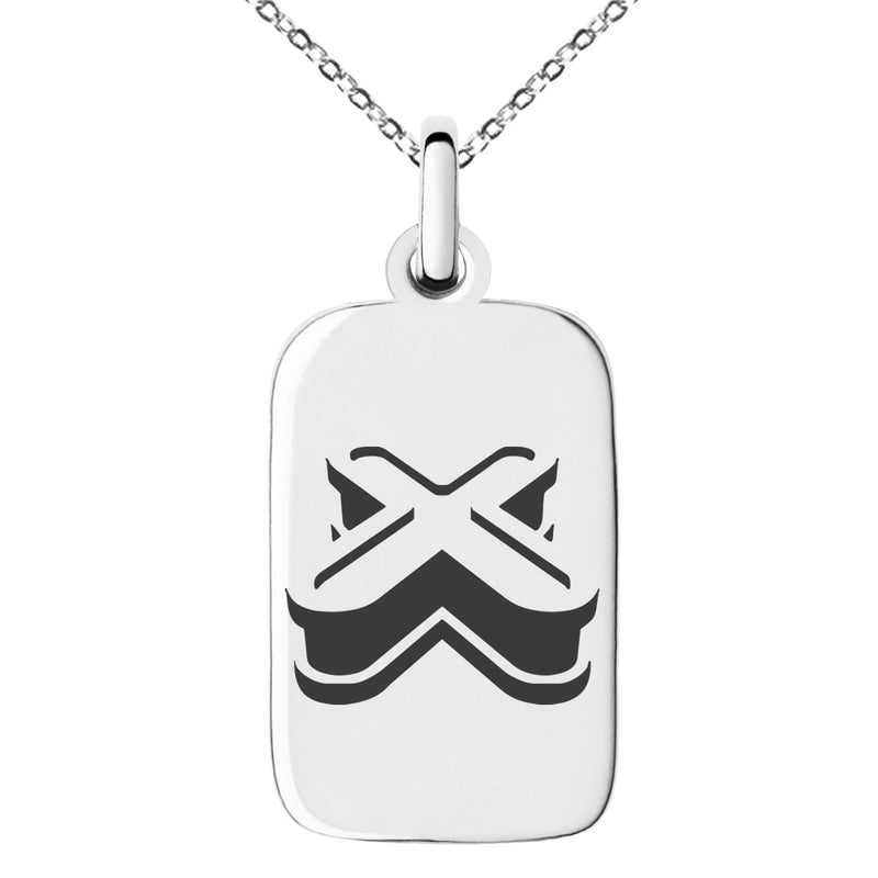 Stainless Steel Letter X Initial 3D Monogram Engraved Small Rectangle Dog Tag Charm Pendant Necklace