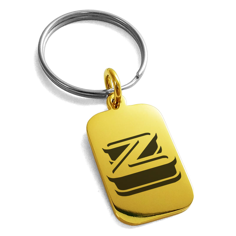 Stainless Steel Letter Z Initial 3D Monogram Engraved Small Rectangle Dog Tag Charm Keychain Keyring - Tioneer