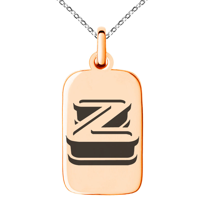 Stainless Steel Letter Z Initial 3D Monogram Engraved Small Rectangle Dog Tag Charm Pendant Necklace - Tioneer