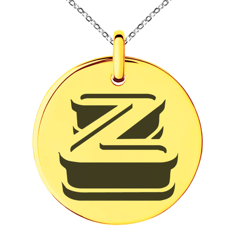 Stainless Steel Letter Z Initial 3D Monogram Engraved Small Medallion Circle Charm Pendant Necklace - Tioneer