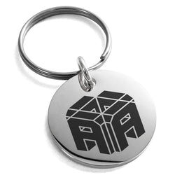 Stainless Steel Letter A Initial 3D Cube Box Monogram Engraved Small Medallion Circle Charm Keychain Keyring - Tioneer