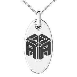 Stainless Steel Letter A Initial 3D Cube Box Monogram Engraved Small Oval Charm Pendant Necklace