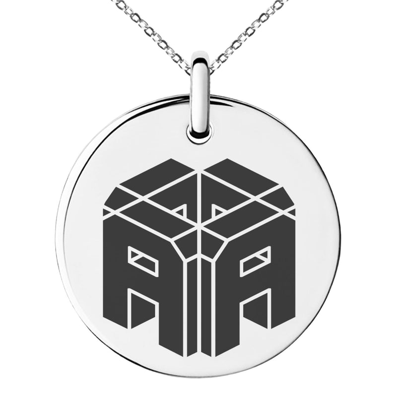 Stainless Steel Letter A Initial 3D Cube Box Monogram Engraved Small Medallion Circle Charm Pendant Necklace