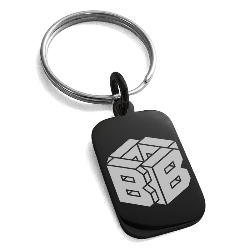 Stainless Steel Letter B Initial 3D Cube Box Monogram Engraved Small Rectangle Dog Tag Charm Keychain Keyring - Tioneer