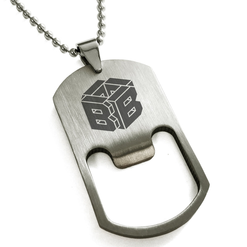Stainless Steel Letter B Alphabet Initial 3D Cube Box Monogram Engraved Bottle Opener Dog Tag Pendant Necklace - Tioneer