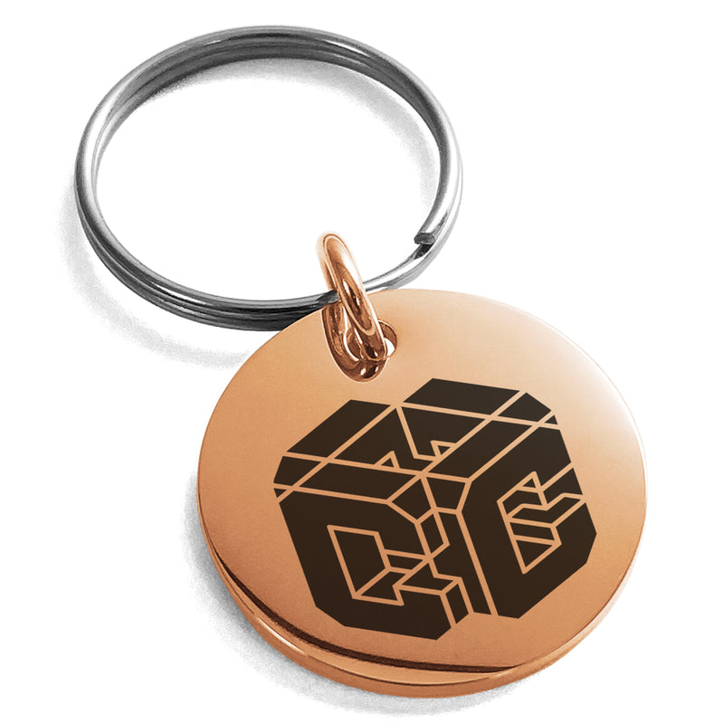 Stainless Steel Letter C Initial 3D Cube Box Monogram Engraved Small Medallion Circle Charm Keychain Keyring - Tioneer