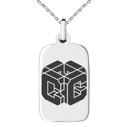 Stainless Steel Letter C Initial 3D Cube Box Monogram Engraved Small Rectangle Dog Tag Charm Pendant Necklace