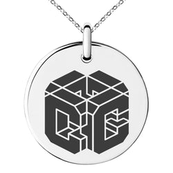 Stainless Steel Letter C Initial 3D Cube Box Monogram Engraved Small Medallion Circle Charm Pendant Necklace