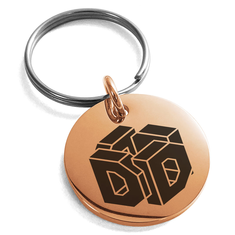 Stainless Steel Letter D Initial 3D Cube Box Monogram Engraved Small Medallion Circle Charm Keychain Keyring - Tioneer