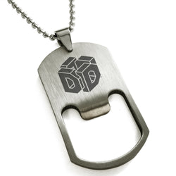 Stainless Steel Letter D Alphabet Initial 3D Cube Box Monogram Engraved Bottle Opener Dog Tag Pendant Necklace - Tioneer