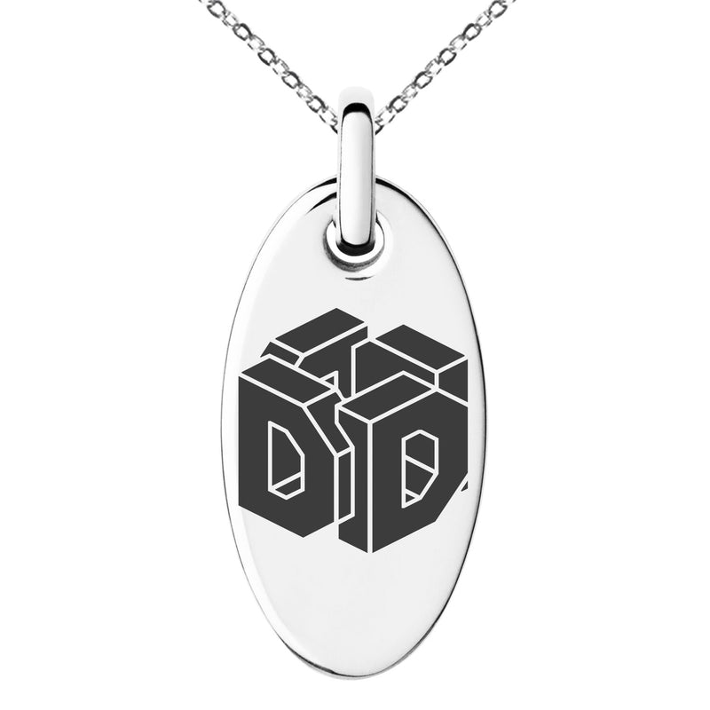 Stainless Steel Letter D Initial 3D Cube Box Monogram Engraved Small Oval Charm Pendant Necklace