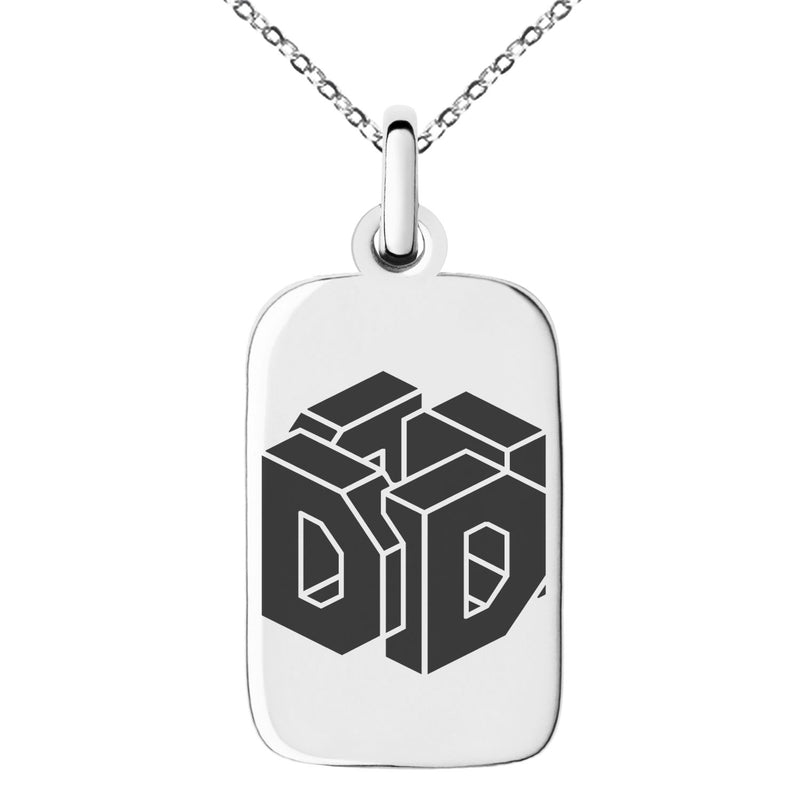 Stainless Steel Letter D Initial 3D Cube Box Monogram Engraved Small Rectangle Dog Tag Charm Pendant Necklace
