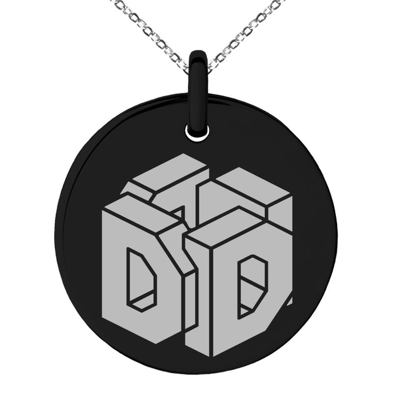 Stainless Steel Letter D Initial 3D Cube Box Monogram Engraved Small Medallion Circle Charm Pendant Necklace