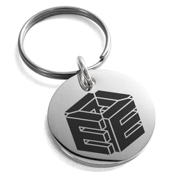 Stainless Steel Letter E Initial 3D Cube Box Monogram Engraved Small Medallion Circle Charm Keychain Keyring - Tioneer