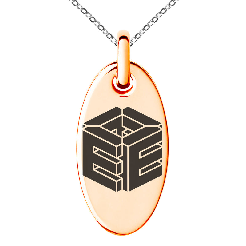 Stainless Steel Letter E Initial 3D Cube Box Monogram Engraved Small Oval Charm Pendant Necklace