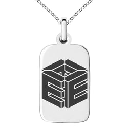 Stainless Steel Letter E Initial 3D Cube Box Monogram Engraved Small Rectangle Dog Tag Charm Pendant Necklace