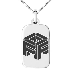 Stainless Steel Letter F Initial 3D Cube Box Monogram Engraved Small Rectangle Dog Tag Charm Pendant Necklace