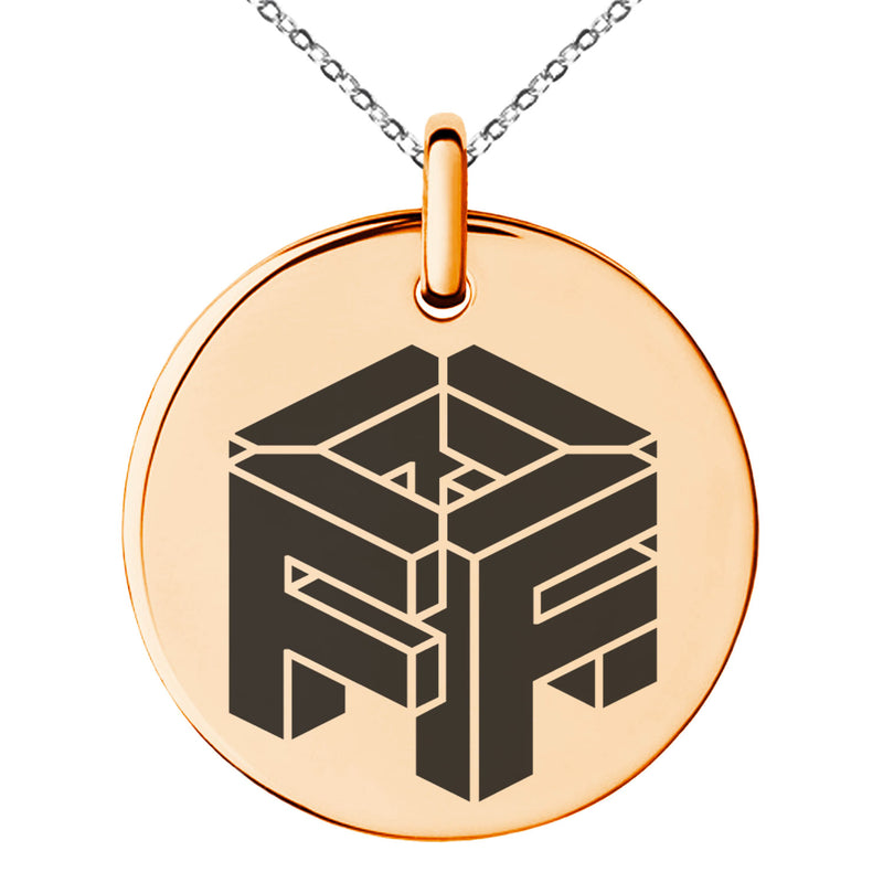 Stainless Steel Letter F Initial 3D Cube Box Monogram Engraved Small Medallion Circle Charm Pendant Necklace