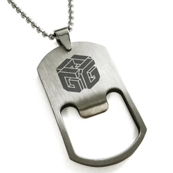 Stainless Steel Letter G Alphabet Initial 3D Cube Box Monogram Engraved Bottle Opener Dog Tag Pendant Necklace - Tioneer