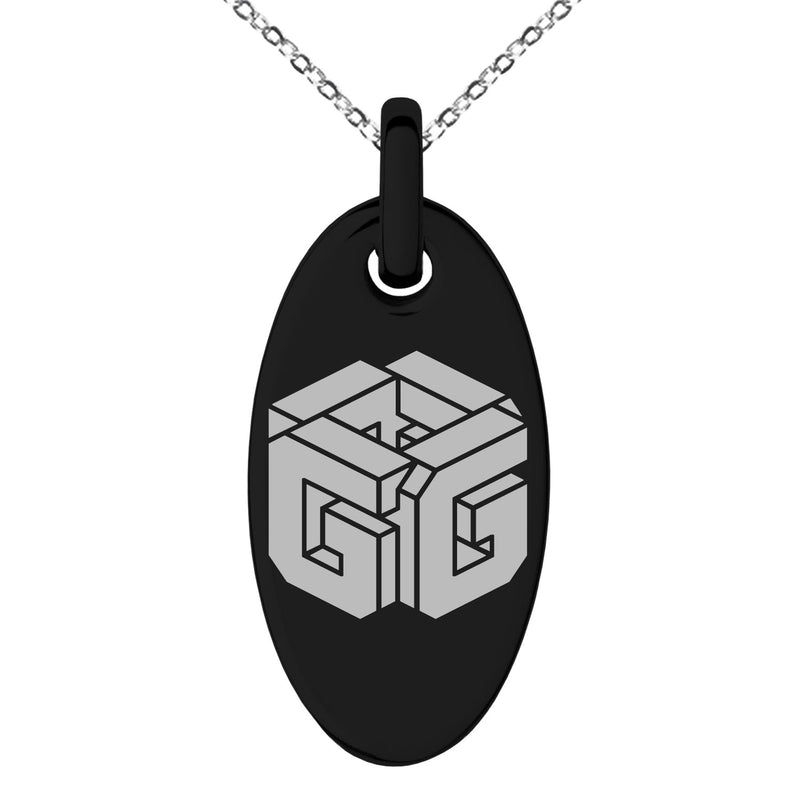 Stainless Steel Letter G Initial 3D Cube Box Monogram Engraved Small Oval Charm Pendant Necklace