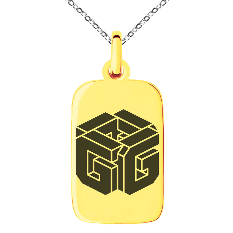Stainless Steel Letter G Initial 3D Cube Box Monogram Engraved Small Rectangle Dog Tag Charm Pendant Necklace