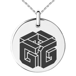 Stainless Steel Letter G Initial 3D Cube Box Monogram Engraved Small Medallion Circle Charm Pendant Necklace