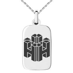 Stainless Steel Letter H Initial 3D Cube Box Monogram Engraved Small Rectangle Dog Tag Charm Pendant Necklace