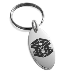 Stainless Steel Letter I Initial 3D Cube Box Monogram Engraved Small Oval Charm Keychain Keyring - Tioneer