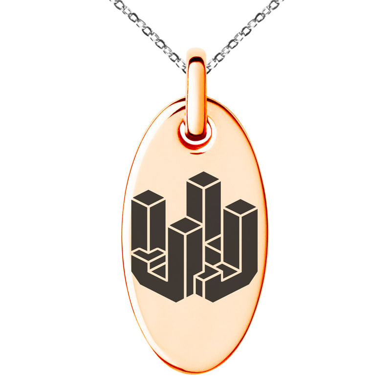 Stainless Steel Letter J Initial 3D Cube Box Monogram Engraved Small Oval Charm Pendant Necklace