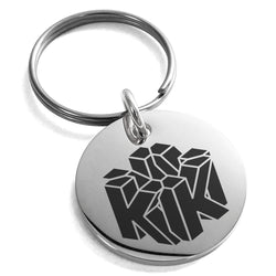 Stainless Steel Letter K Initial 3D Cube Box Monogram Engraved Small Medallion Circle Charm Keychain Keyring - Tioneer