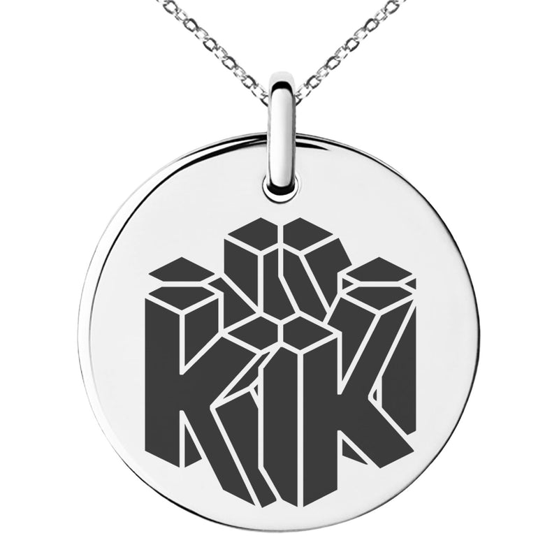 Stainless Steel Letter K Initial 3D Cube Box Monogram Engraved Small Medallion Circle Charm Pendant Necklace