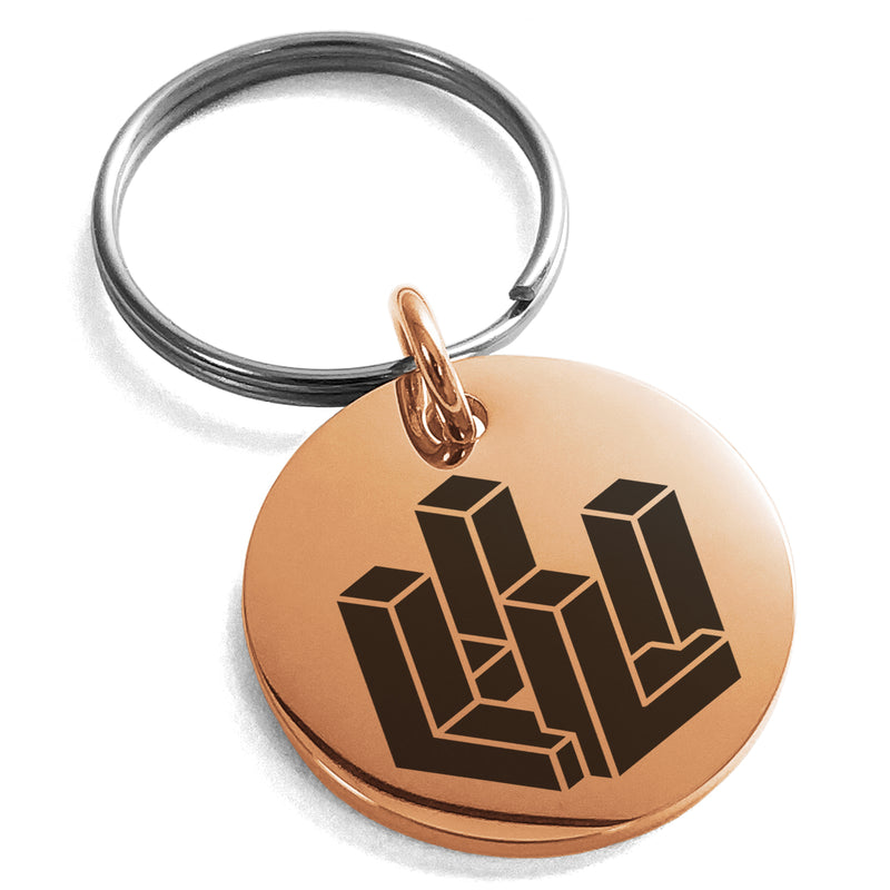 Stainless Steel Letter L Initial 3D Cube Box Monogram Engraved Small Medallion Circle Charm Keychain Keyring - Tioneer