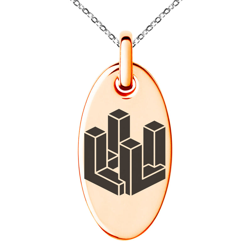 Stainless Steel Letter L Initial 3D Cube Box Monogram Engraved Small Oval Charm Pendant Necklace
