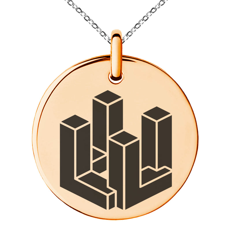 Stainless Steel Letter L Initial 3D Cube Box Monogram Engraved Small Medallion Circle Charm Pendant Necklace