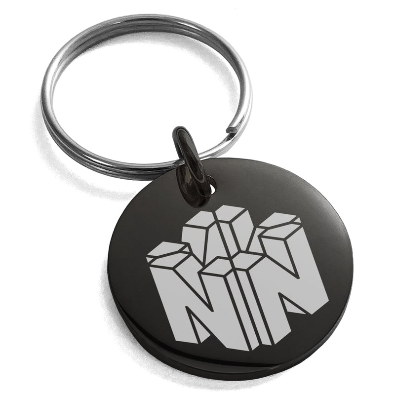 Stainless Steel Letter N Initial 3D Cube Box Monogram Engraved Small Medallion Circle Charm Keychain Keyring - Tioneer