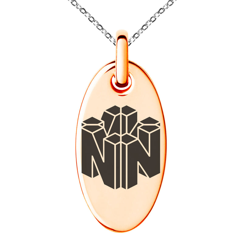 Stainless Steel Letter N Initial 3D Cube Box Monogram Engraved Small Oval Charm Pendant Necklace