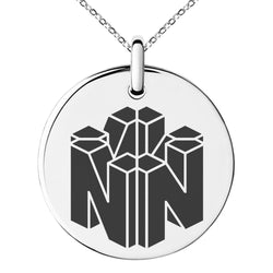 Stainless Steel Letter N Initial 3D Cube Box Monogram Engraved Small Medallion Circle Charm Pendant Necklace