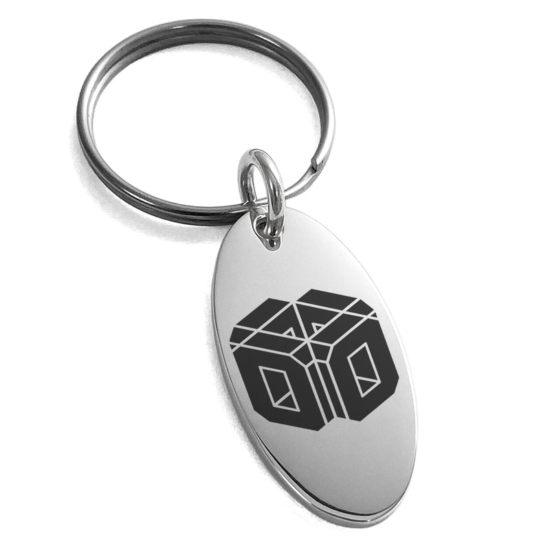 Stainless Steel Letter O Initial 3D Cube Box Monogram Engraved Small Oval Charm Keychain Keyring - Tioneer