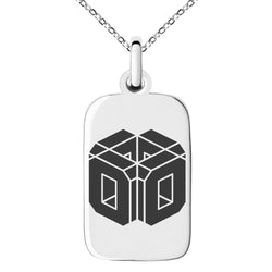 Stainless Steel Letter O Initial 3D Cube Box Monogram Engraved Small Rectangle Dog Tag Charm Pendant Necklace