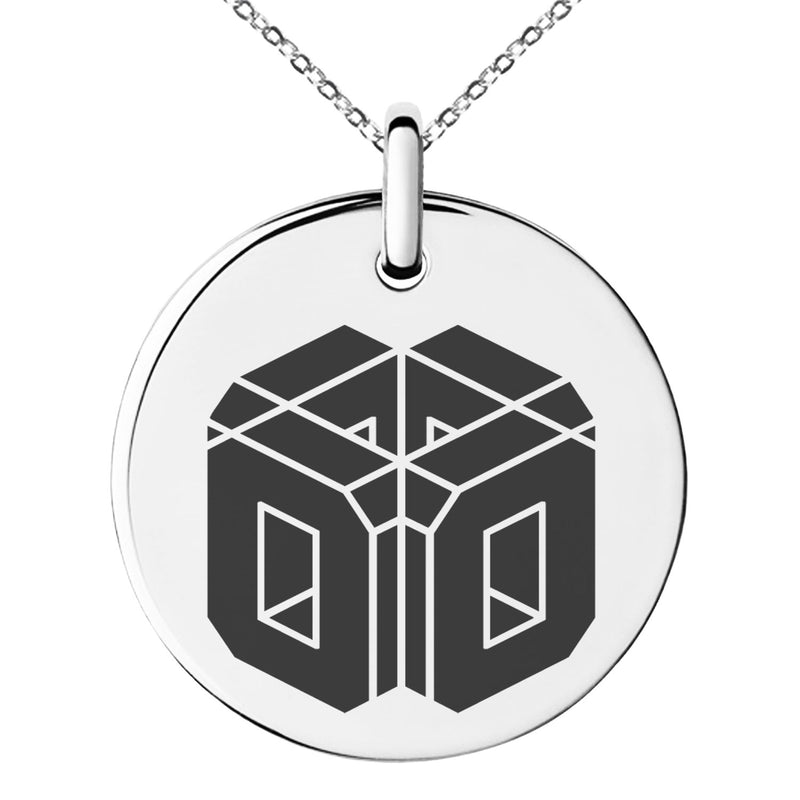 Stainless Steel Letter O Initial 3D Cube Box Monogram Engraved Small Medallion Circle Charm Pendant Necklace
