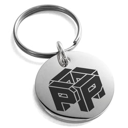 Stainless Steel Letter P Initial 3D Cube Box Monogram Engraved Small Medallion Circle Charm Keychain Keyring - Tioneer