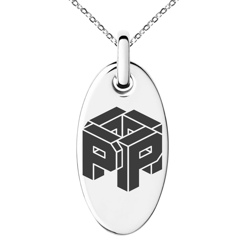 Stainless Steel Letter P Initial 3D Cube Box Monogram Engraved Small Oval Charm Pendant Necklace