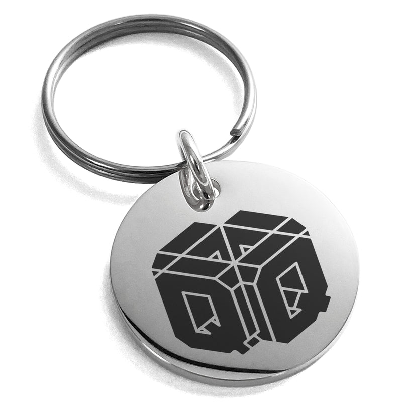 Stainless Steel Letter Q Initial 3D Cube Box Monogram Engraved Small Medallion Circle Charm Keychain Keyring - Tioneer