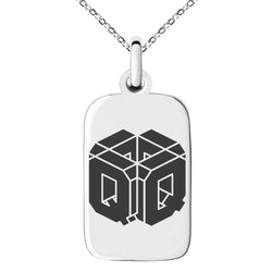 Stainless Steel Letter Q Initial 3D Cube Box Monogram Engraved Small Rectangle Dog Tag Charm Pendant Necklace