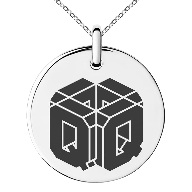 Stainless Steel Letter Q Initial 3D Cube Box Monogram Engraved Small Medallion Circle Charm Pendant Necklace