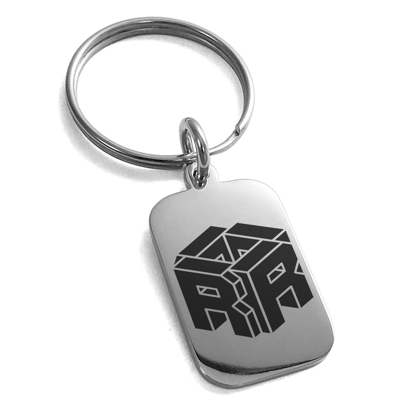 Stainless Steel Letter R Initial 3D Cube Box Monogram Engraved Small Rectangle Dog Tag Charm Keychain Keyring - Tioneer
