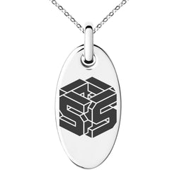 Stainless Steel Letter S Initial 3D Cube Box Monogram Engraved Small Oval Charm Pendant Necklace