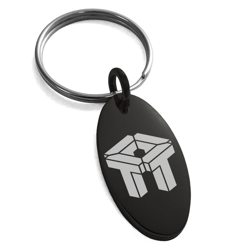 Stainless Steel Letter T Initial 3D Cube Box Monogram Engraved Small Oval Charm Keychain Keyring - Tioneer